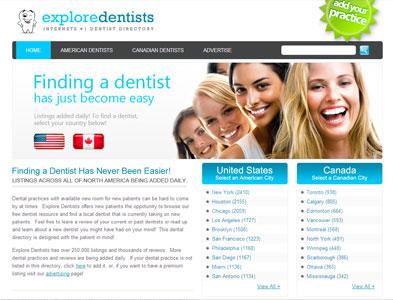 ExploreDentists - Screenshot - Homepage